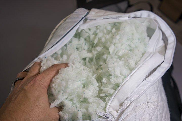 Close up of Coop Eden pillow unzipped