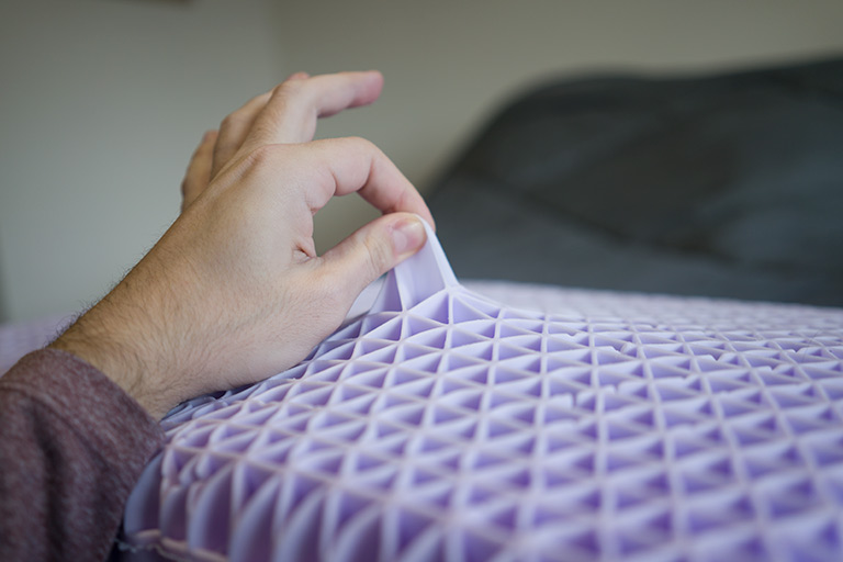 Mike showing the flexibility of the Purple pillow grid